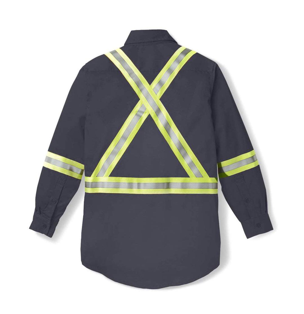 Rasco FR Men's Gray Light Weight Work Shirt W/ Reflective Striping FR1403GY Back