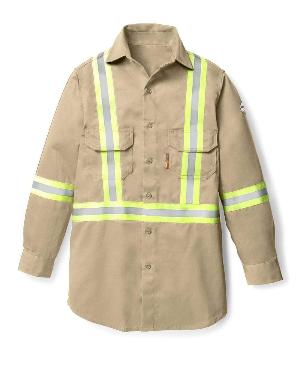 Rasco FR Men's Light Weight Khaki Work Shirt W/Reflective Striping FR1403KH