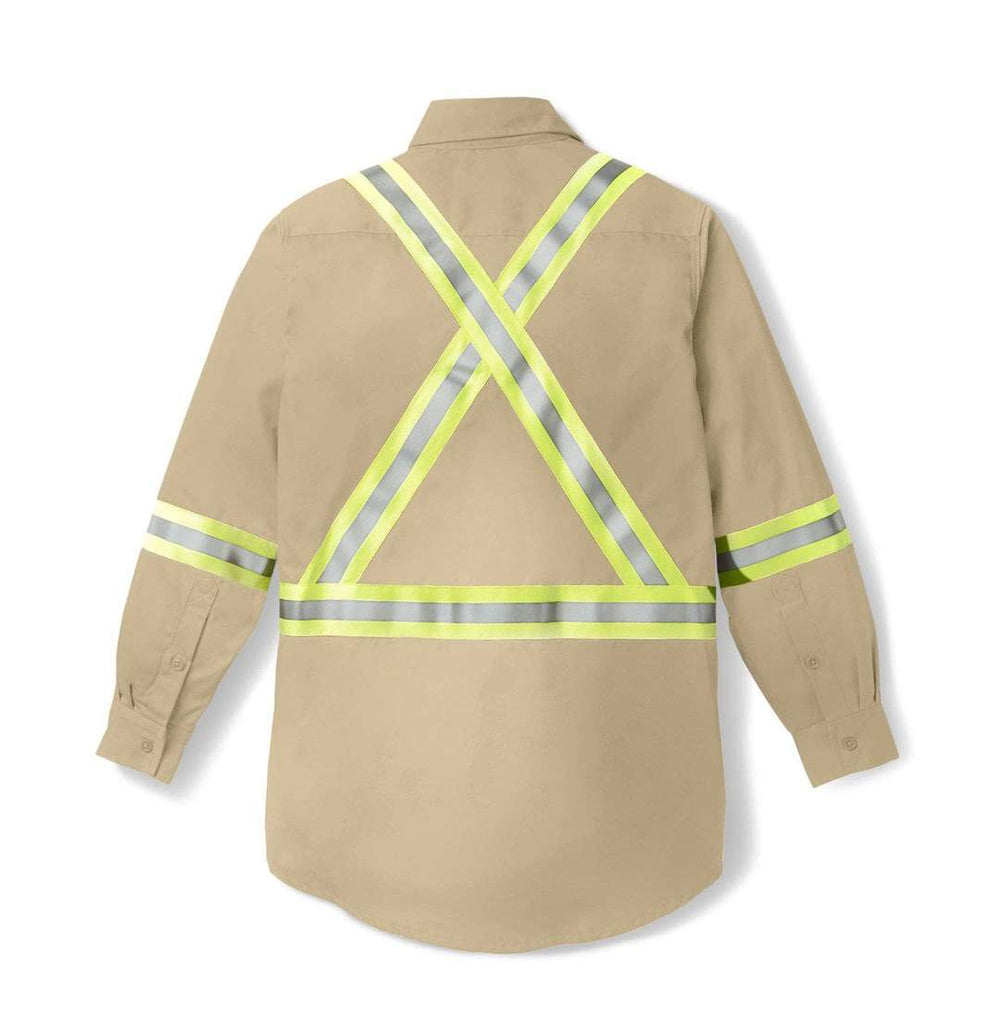 Rasco FR Men's Light Weight Khaki Work Shirt W/Reflective Striping FR1403KH Back