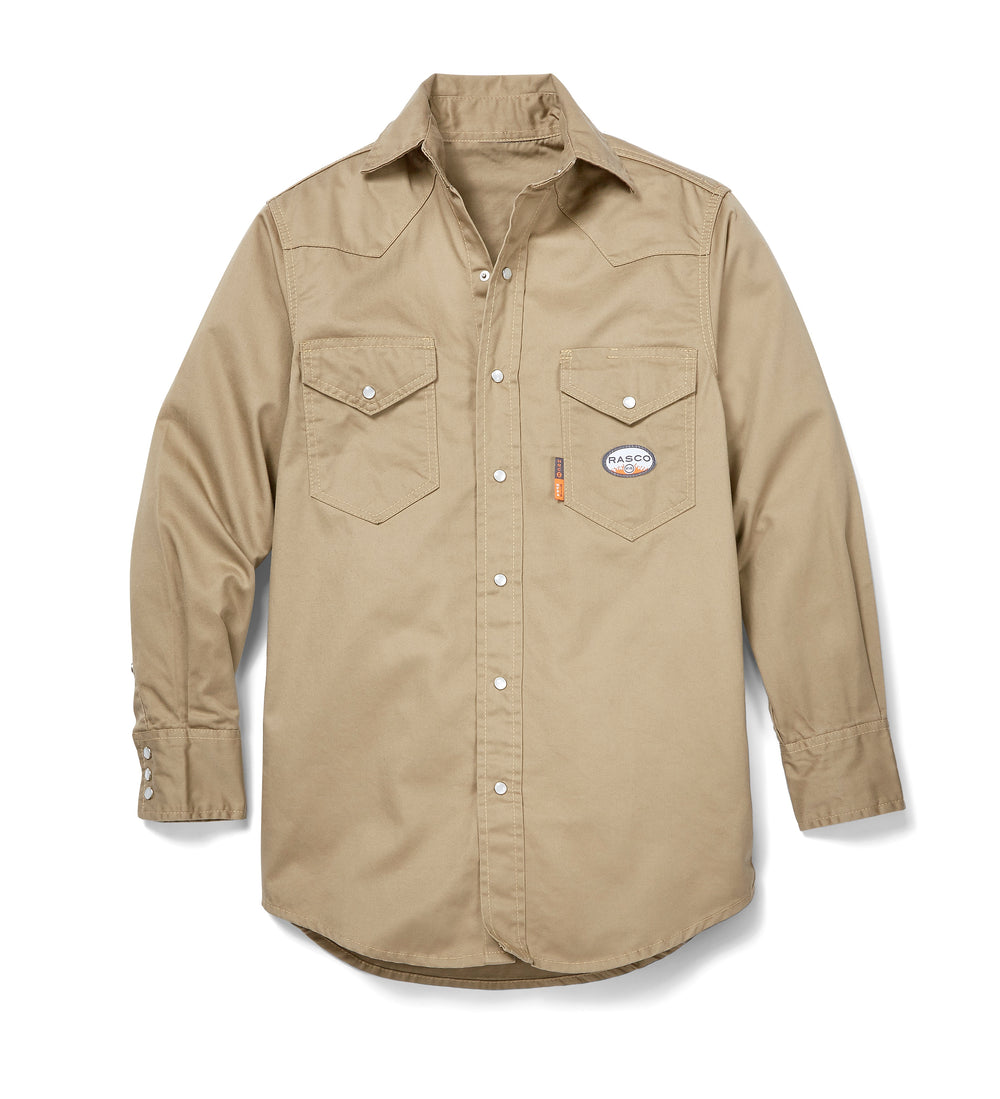 Rasco FR Men's Light Weight Khaki Work Shirt FR1003KH
