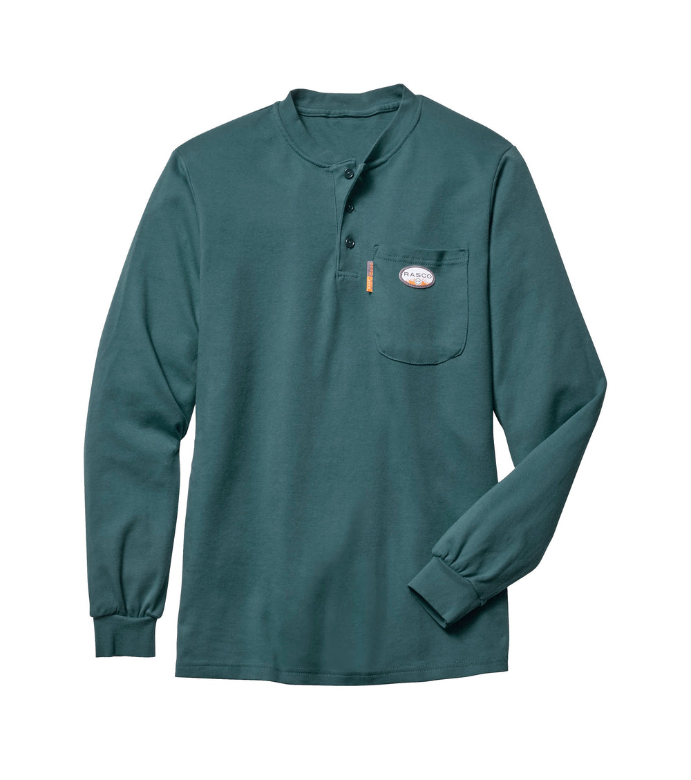 Flame Resistant Hunter Green Long Sleeve Henley T-Shirt - GRF460