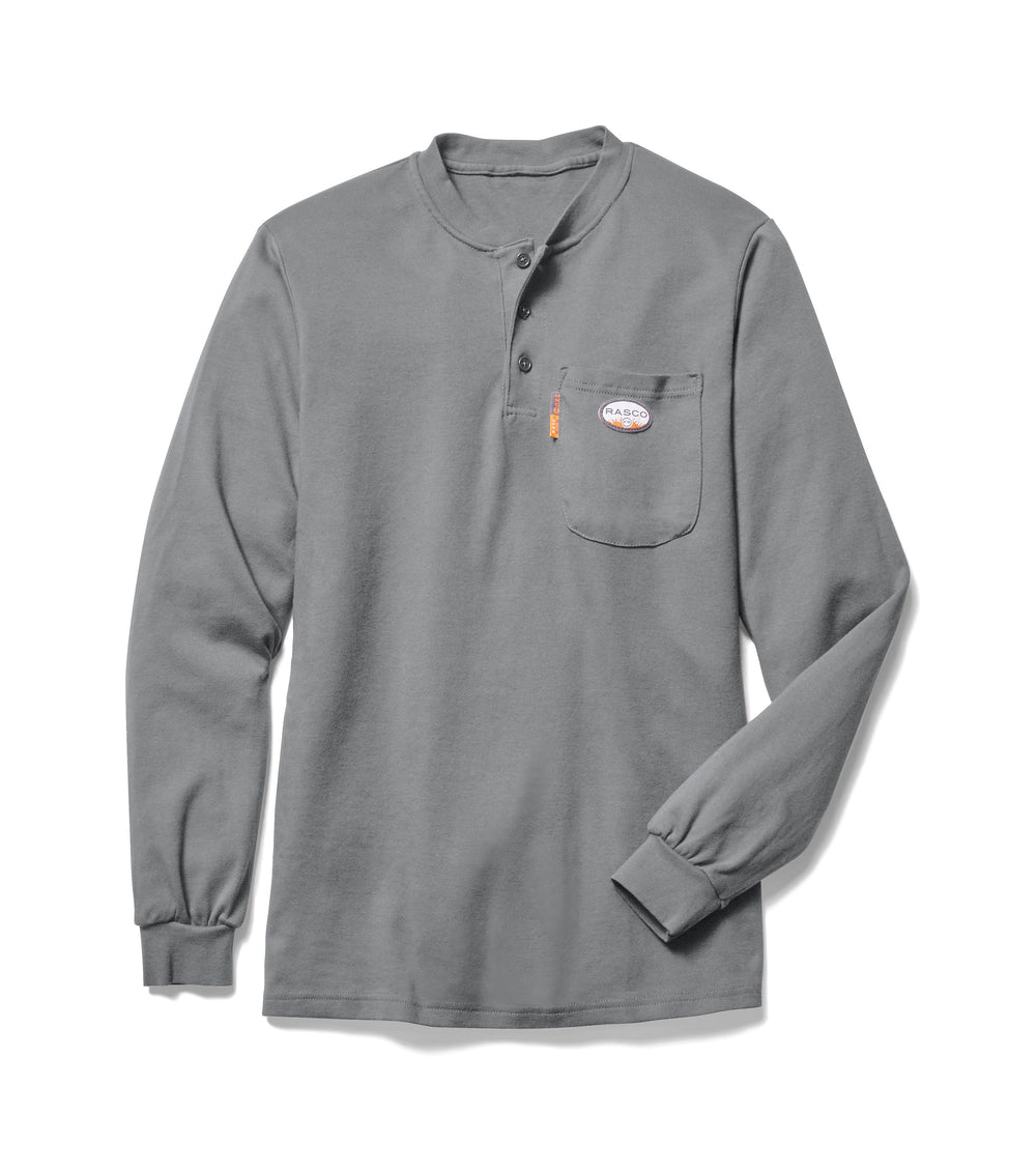 Flame Resistant Gray Long Sleeve Henley T-Shirt - GTF454