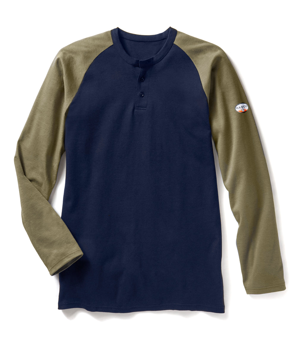 Rasco FR Men's Khaki/Navy Long Sleeve Henley T-shirt FR0401KH/NV
