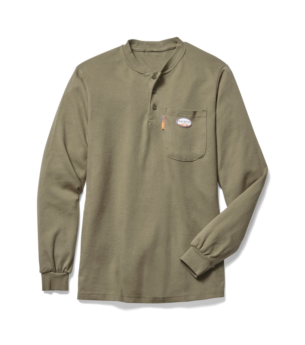 Rasco FR Flame Resistant khaki long sleeve henley t-shirt