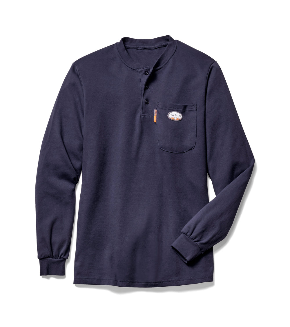 Flame Resistant Navy Long Sleeve Henley T-Shirt -NTF453
