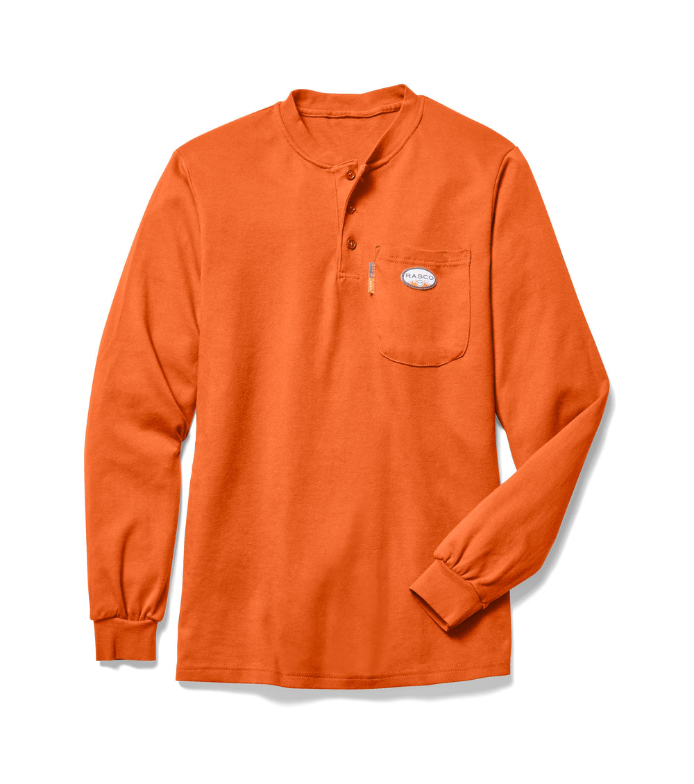 Rasco FR Men's Orange Long Sleeve Henley T-Shirt FR0101OR