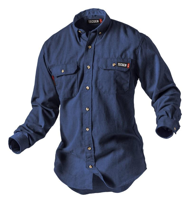 Tecgen FR Men's Navy Lightweight 5.5oz Work Shirt TCG011602