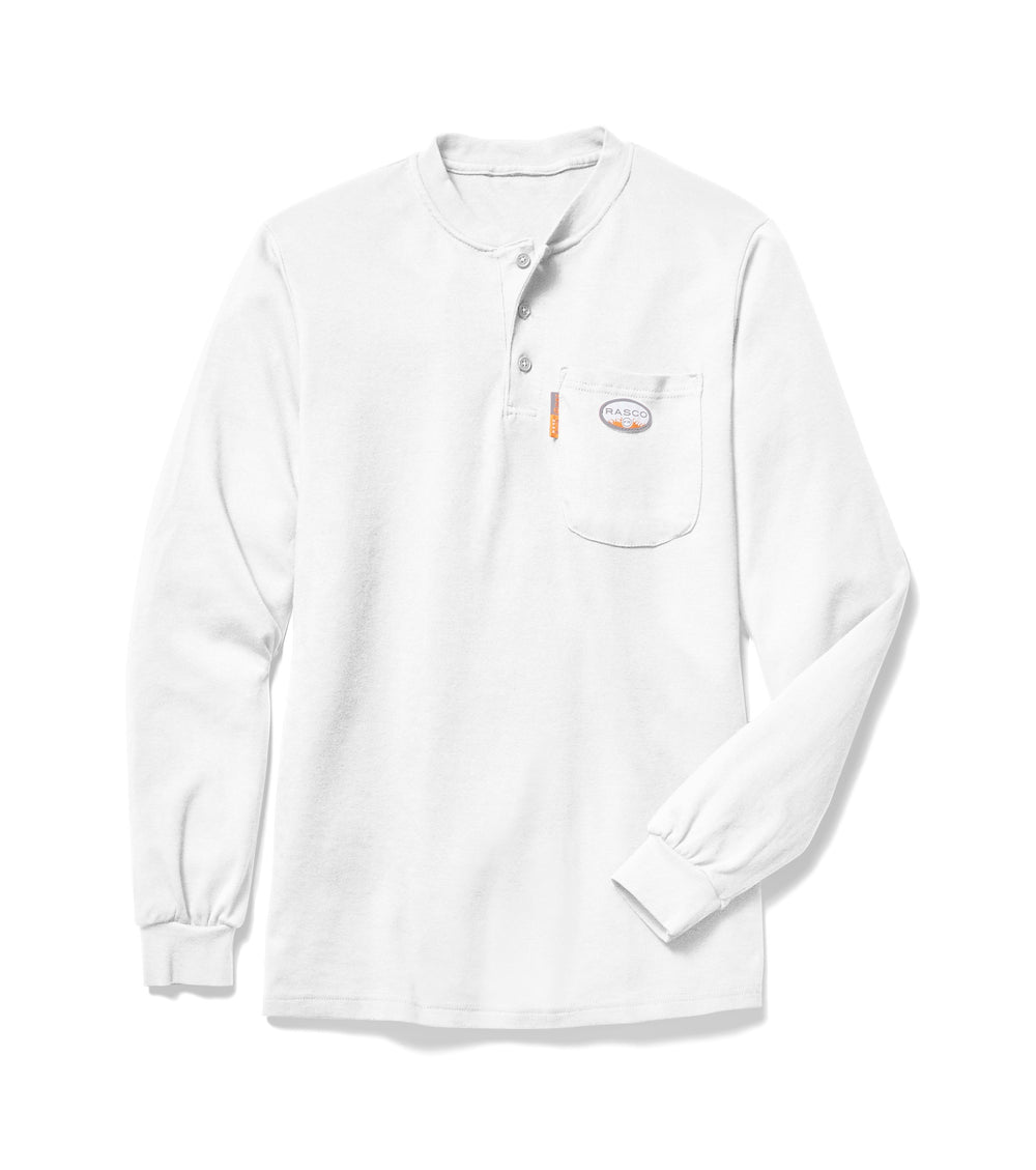 Flame Resistant White Long Sleeve Henley T-Shirt - WTF456