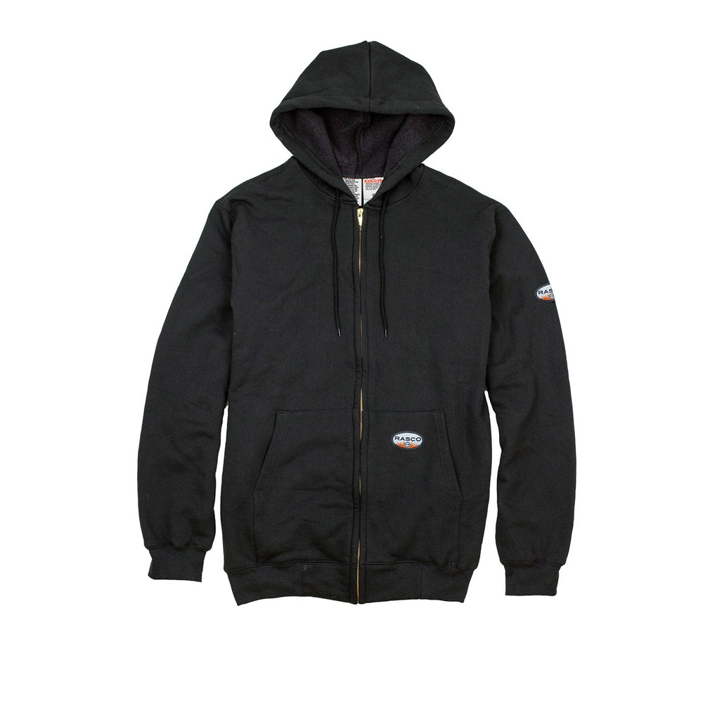 Rasco FR FR2002BK Black Hooded Zip up Sweatshirt