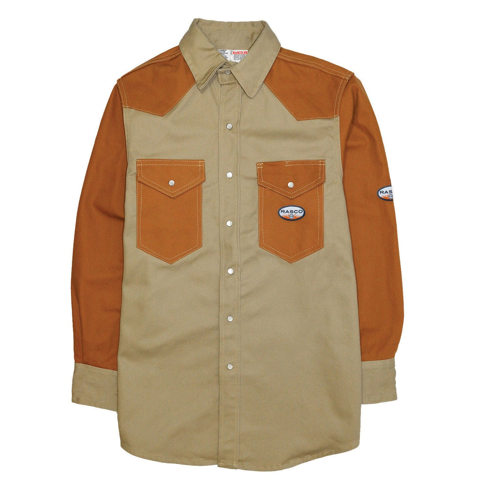 Flame Resistant Khaki-Brown Duck Two Tone Work Shirt FKD2001