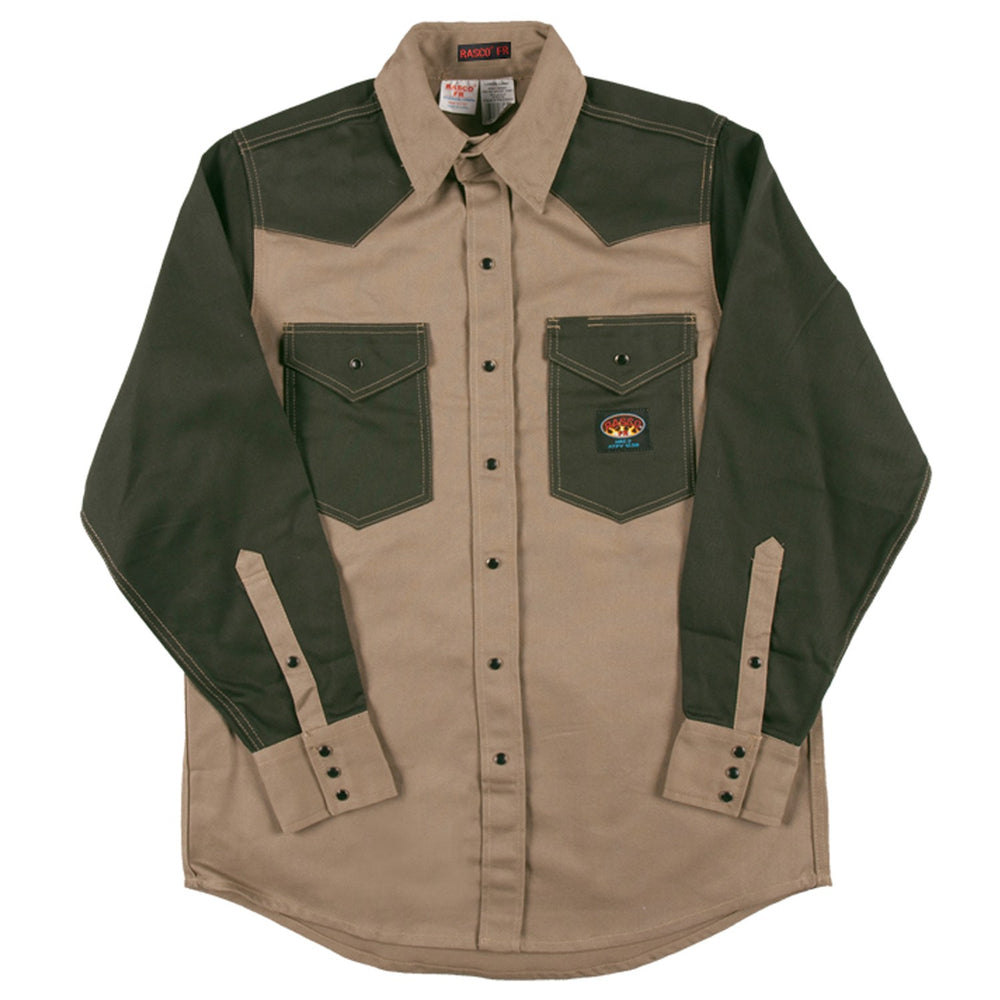 Flame Resistant Khaki-Green Duck Two Tone Work Shirt FKG2003