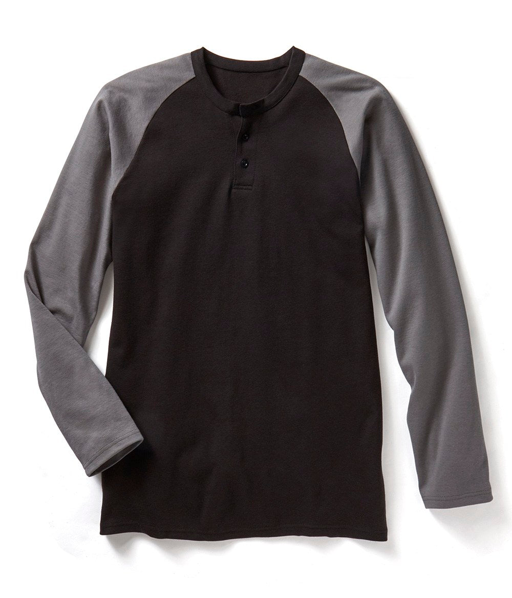Rasco FR Grey/Black Long Sleeve Henley T-shirt FR0401GY/BK