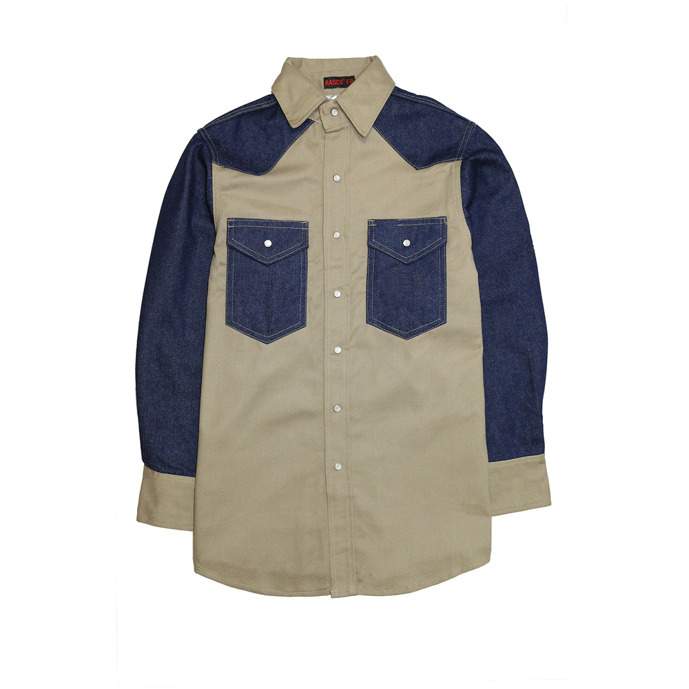 Khaki - Denim Two Toned Non FR Work Shirt - KD1350