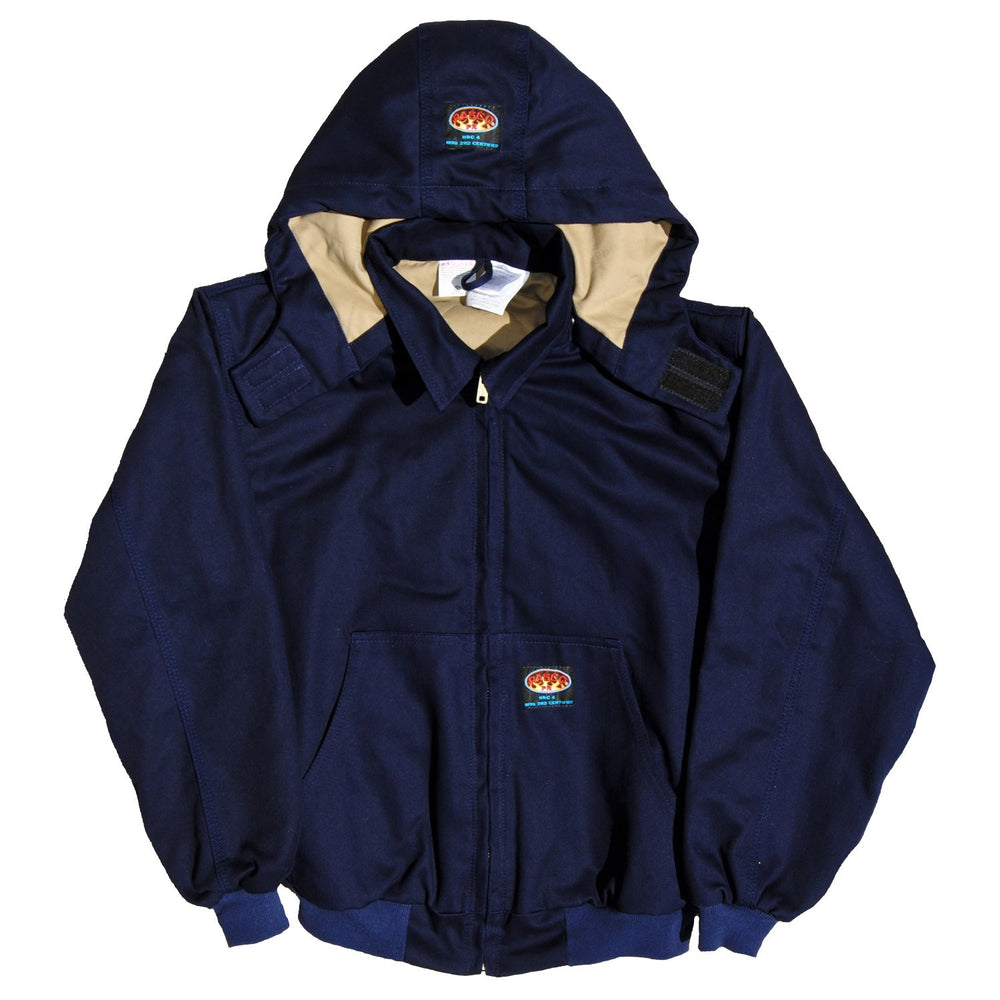 Flame Resistant Hooded Navy Twill Mod Acrylic Hooded Jacket - NJFQ2210