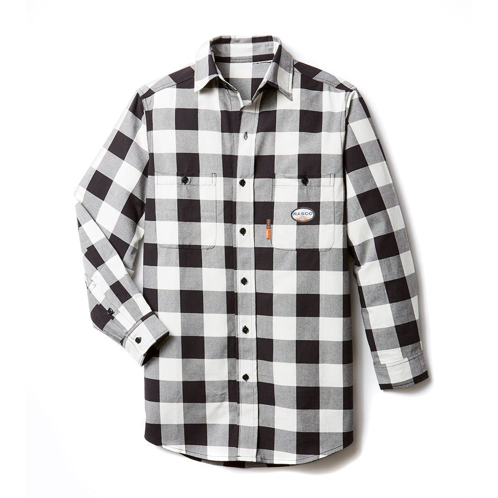 Rasco FR Black and White Plaid Work Shirt FR0824BK/WH was PBW766