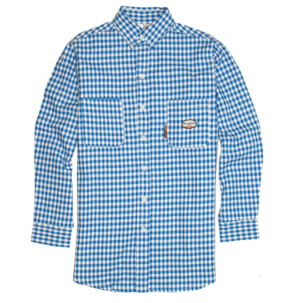 Flame Resistant Blue Plaid Dress Shirt PLB762