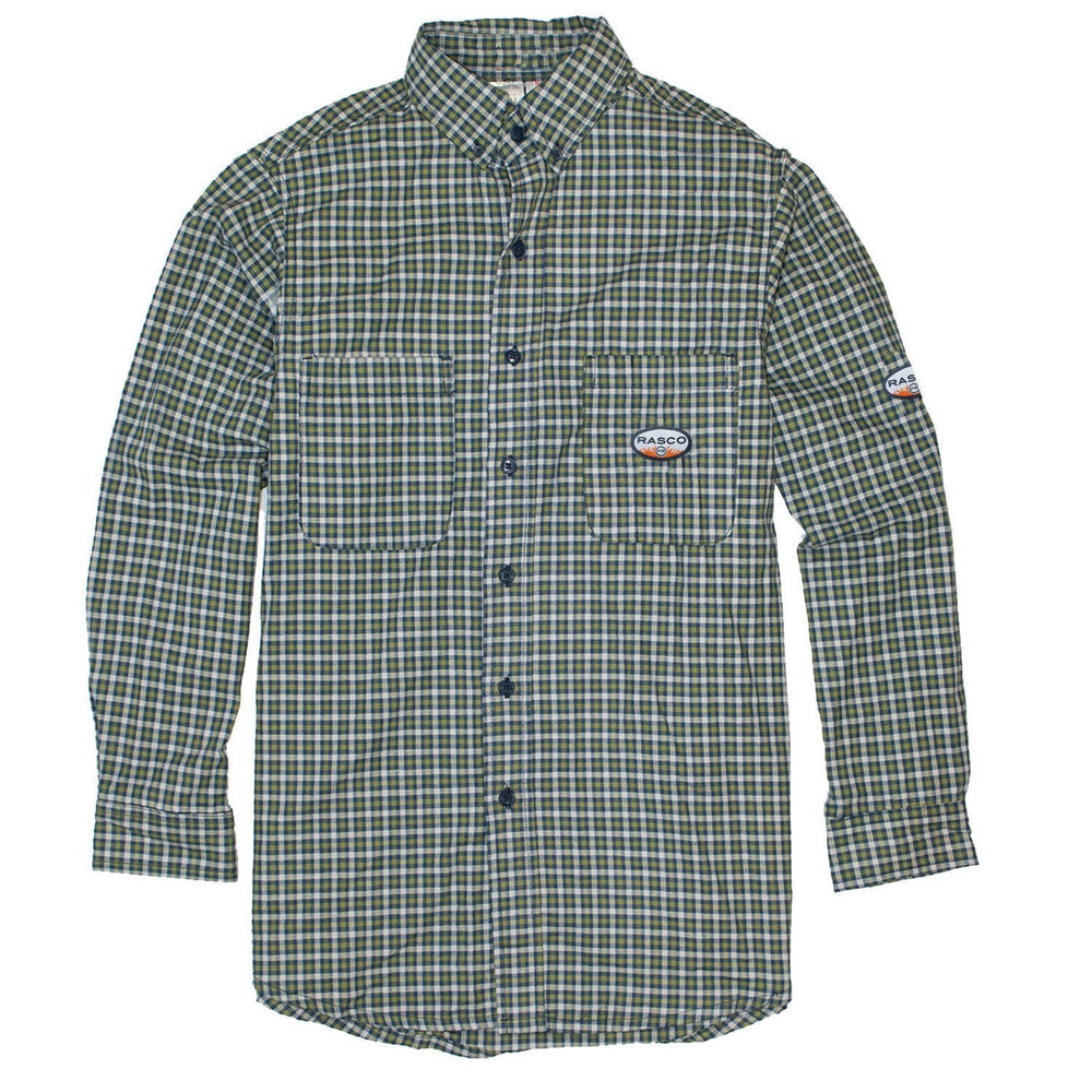 Rasco FR Men's Green Plaid Work Shirt FR0824GN