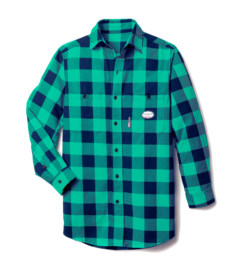 Rasco FR Navy and Green Buffalo Plaid Work Shirt FR0824NV/GN was Previously PNG767