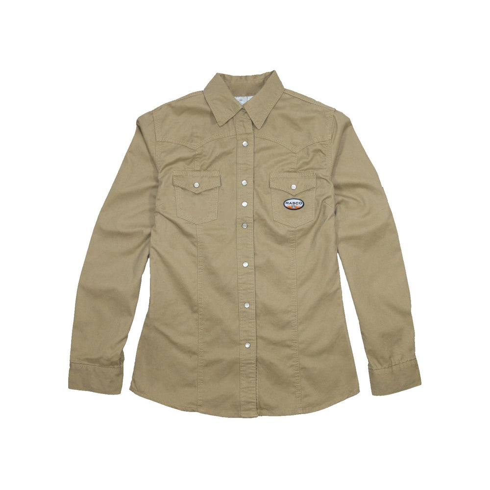 Women's Flame Resistant Khaki Work Shirt - W-FR750