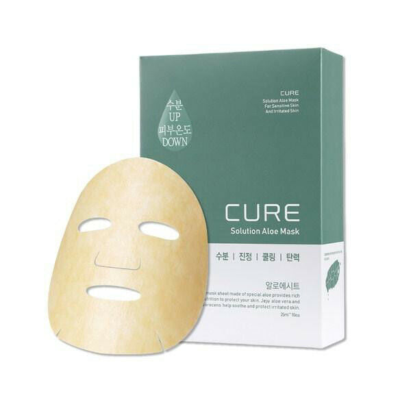 Kim Jeong Moon Cure Solution Aloe Mask Sheet Pack 10pcs Soothing Moisture Cooling Elasticity