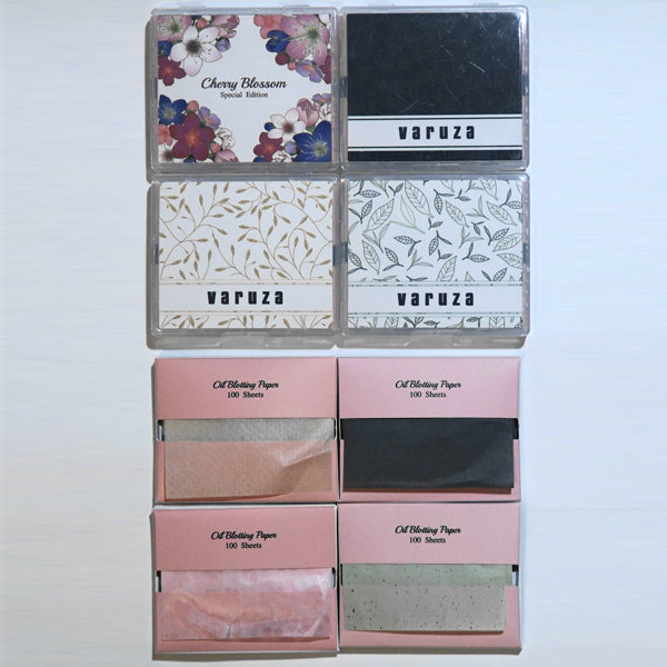 바루쟈 기름종이 세트 800매 - 여성 화장용품 필수품 Varuza Face Oil Blotting Paper Sheets with Makeup Mirror 4 Set(800 Sheets)