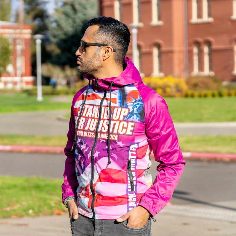 SYNTHETIC-FILL WINDHAWK Stand up for Justice Pink Jacket