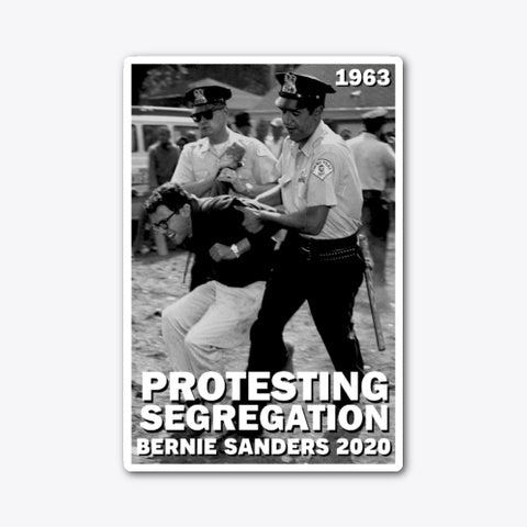 Bernie Protesting Segregation Die-Cut Sticker