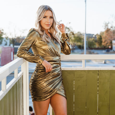 Metallic dress from Lush Fashion Lounge women's boutique in Oklahoma City