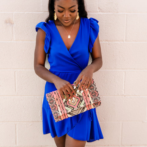 Blue ruffle dress from Lush Fashion Lounge women's boutique in Oklahoma city