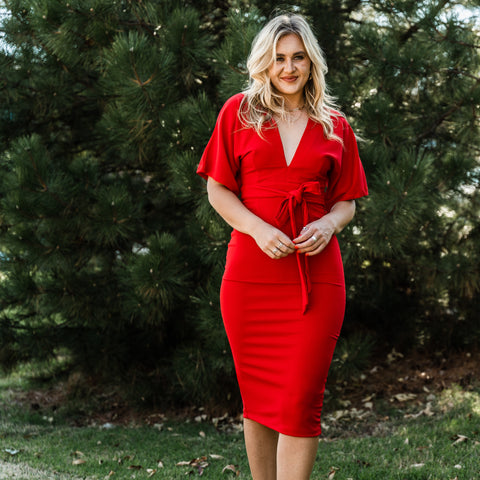Red dress from Lush Fashion Lounge women's boutique in Oklahoma City