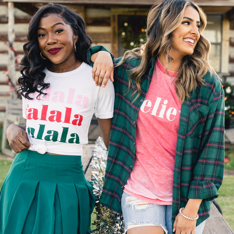 Christmas t-shirts from Lush Fashion Lounge women's boutique in Oklahoma City