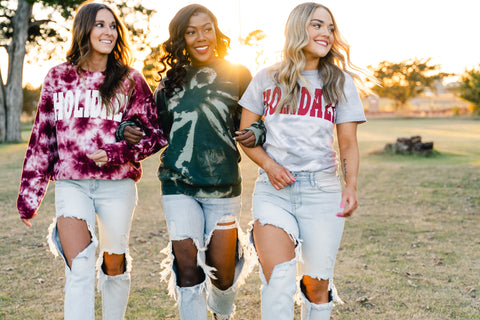 Holiday tie dye tees from Lush Fashion Lounge women's boutique in Oklahoma City