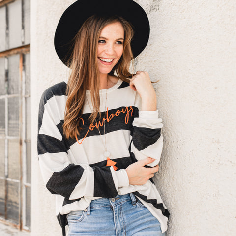 Lush Fashion Lounge Blog: Sneak Peek of Lush University 2019 | Cowboys graphic sweater, women's Cowboys sweater, women's oversized pullover, OKC clothing boutique