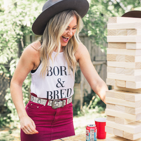 Lush Fashion Lounge Blog: Sneak Peek of Lush University 2019 | Born & Bred tank top, women's Born & Bred tank, women's Oklahoma tank top