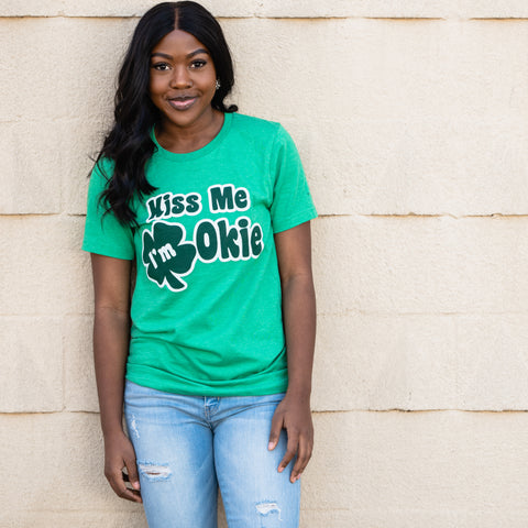 Lush Fashion Lounge Blog: Lucky by Lush 2020 | Kiss Me I'm Okie t-shirt, cute women's shirts for St Paddy's Day, graphic tees for St Patrick's Day, Okie St Paddy's Day, Oklahoma boutiques, clothing boutiques in OKC
