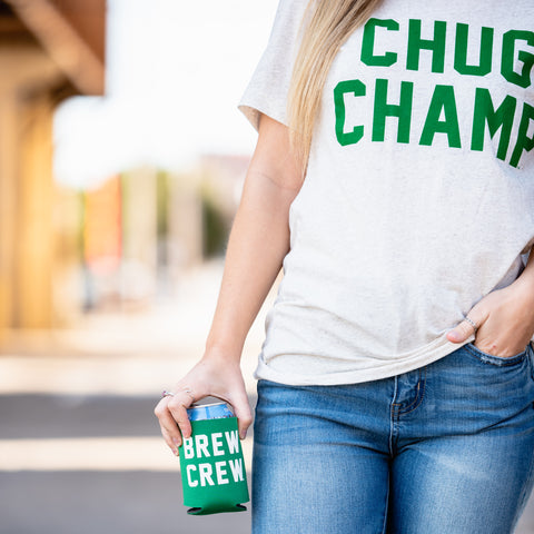Lush Fashion Lounge Blog: Lucky by Lush 2020 | Chug Champ t-shirt, funny women's graphic t-shirts, beer tees for women, women's St Paddy's shirts, inexpensive online boutiques