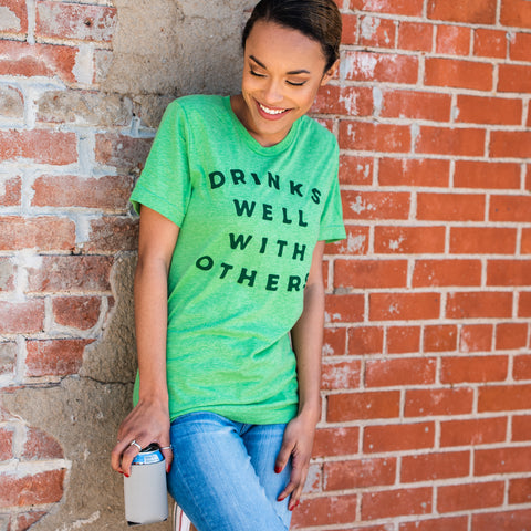 Lush Fashion Lounge Blog: Lucky by Lush 2020 | funny St Paddy's Day shirts, funny graphic tees for St Patrick's Day, women's funny graphic tees, Drinks Well With Others t-shirt, trendy online clothing boutiques