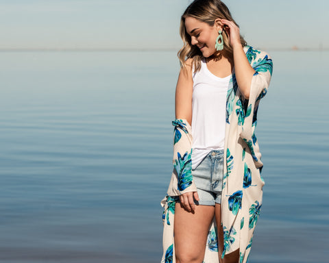 Lush Fashion Lounge, tropical kimono, leaf print kimono, leaf print swim coverup, swim coverup, Summer coverup, Oklahoma boutique, OKC clothing store