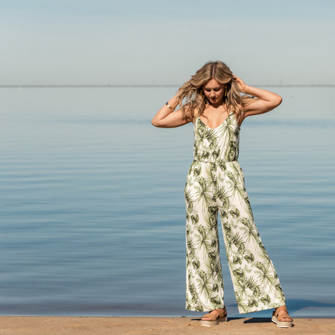 Lush Fashion Lounge, leaf jumper, leaf printed pantsuit, tropical pantsuit, Oklahoma boutique, OKC clothing store