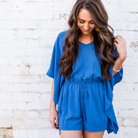 Lush Fashion Lounge, cobalt blue romper, summer romper, beach romper, Oklahoma boutique, OKC clothing store