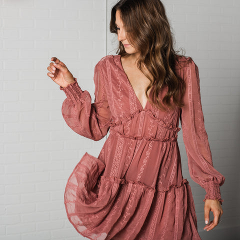 Lush Fashion Lounge blog, Valentine's Day outfit, trendy mauve ruffle long sleeve dress, trendy boho long sleeve dress, cute long sleeve dress, Oklahoma boutique, OKC clothing store, cute OKC dress