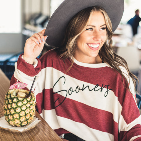 Lush Fashion Lounge Blog: Sneak Peek of Lush University 2019 | Sooners graphic sweater, women's Sooners pullover, boutique Sooners apparel for women