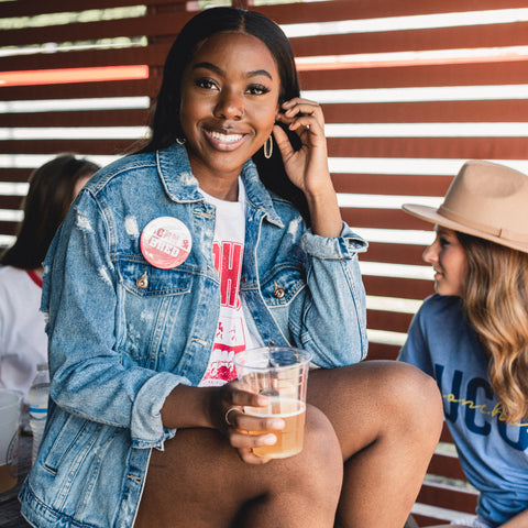 Lush Fashion Lounge Blog: Sneak Peek of Lush University 2019 | Born + Bred button, women's Oklahoma gameday apparel, Oklahoma gameday boutique