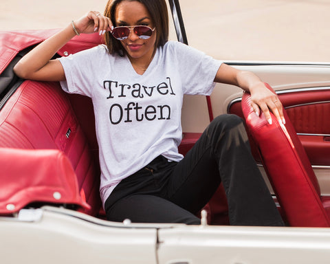 Lush Fashion Lounge Blog: Leisure by Lush 2019 | Travel Often t-shirt, Travel Often graphic tee, women's graphic tees for summer, Spring Break graphic tees
