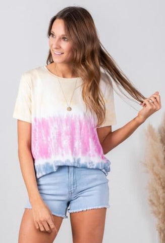 Tie dye Piko t-shirt, tie dye tee, tie dye shirt, Lush Fashion Lounge women's boutique in Oklahoma