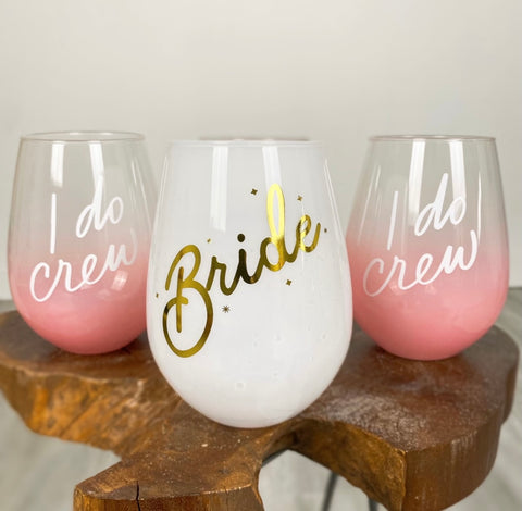Bride wine glass and bridesmaid wine glass from Lush Fashion Lounge women's boutique in Oklahoma City