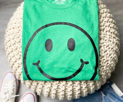 Smiley face t-shirt from Lush Fashion Lounge women's boutique in Oklahoma City