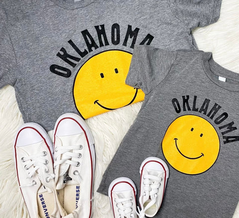 Oklahoma smiley face t-shirts from Lush Fashion Lounge women's boutique in Oklahoma City