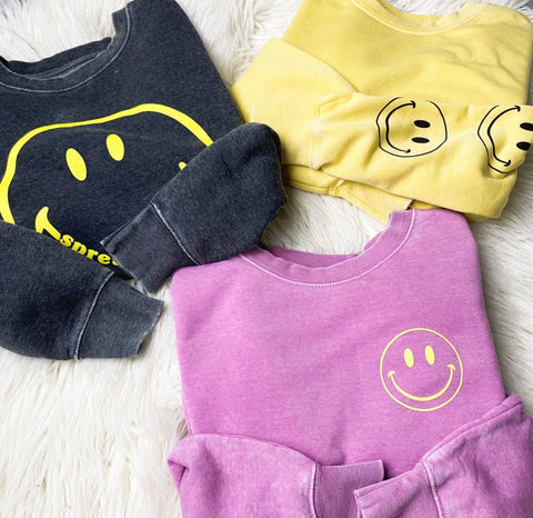 Smiley face sweatshirts from Lush Fashion Lounge women's boutique in Oklahoma City