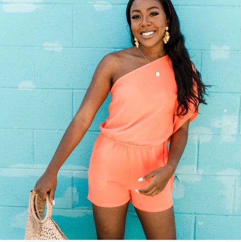 One shoulder romper from Lush Fashion Lounge women's boutique in Oklahoma City